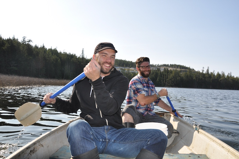 May 2012: Mike White and Shaun McCann show us how to canoe on Texada Island, British Columbia, Canada.
