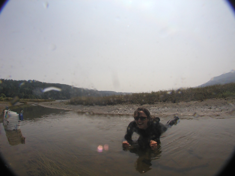 July 2015: Sophie Archambeault gets into the mud in Quilcene Bay, Washington, USA.